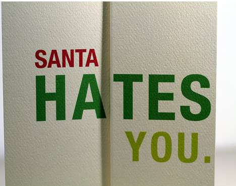 Disheartening Christmas Cards - The Santa Hates You Christmas Card Designs are Comically Crude
