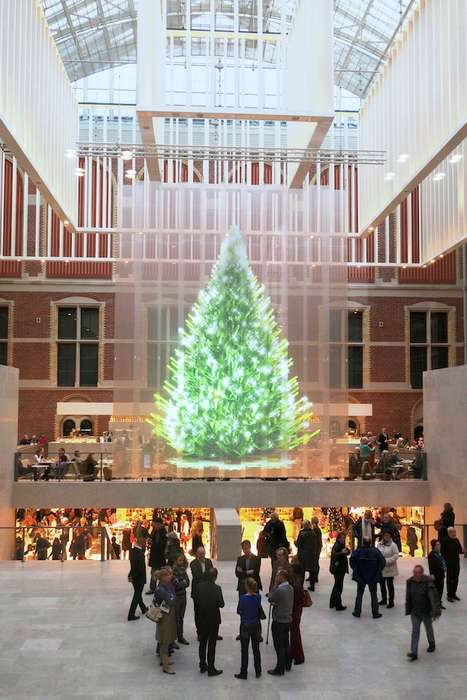 Holographic Christmas Trees - The Tree of Light by Studio Droog is Purely a Holographic Projection