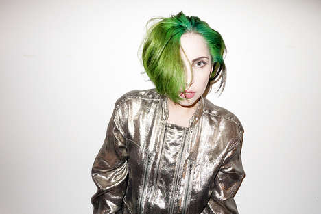Emerald Celebrity Hair Photography - This Green-Haired Lady Gaga Will Get You in the Holiday Spirit