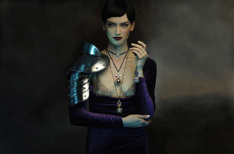 Bejeweled Medieval Fashion Ads - The Dionea Orcini Semiramis Collection Campaign Stars Marla Boehr