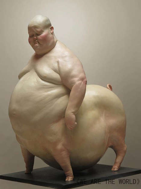 Grotesque Humanimal Sculptures - We Are the World by Liu Xue is Disturbingly Comical