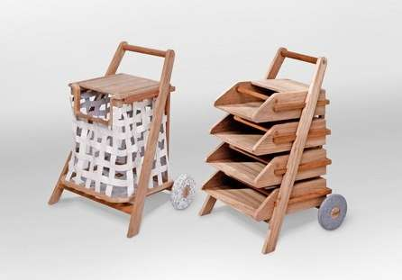 Wooden Transferable Mobile Carts - These Mobile Carts are Made for Reading Material and Laundry