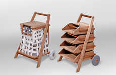 Household Mobile Carts - Jakkapun Charinrattana Designs a Practical Laundry Basket and Library