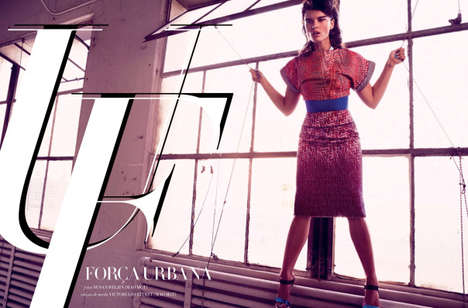 Potent City-Slicker Editorials - Crystal Renn Models for Harper's Bazaar Issue