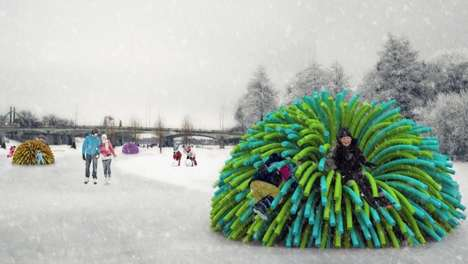 Anemone Outdoor Seating - The Nuzzles Warming Hut is an Interactive and Toasty Rink-Side Chair