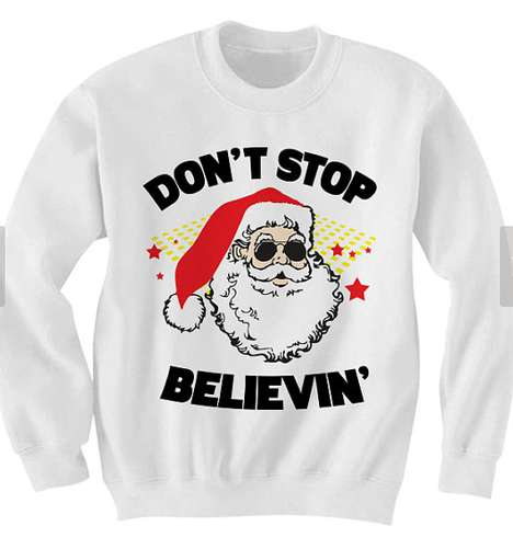 Song Lyric Santa Sweaters - This Graphic Crew Neck Ties Popular Lyrics with Christmas Spirit