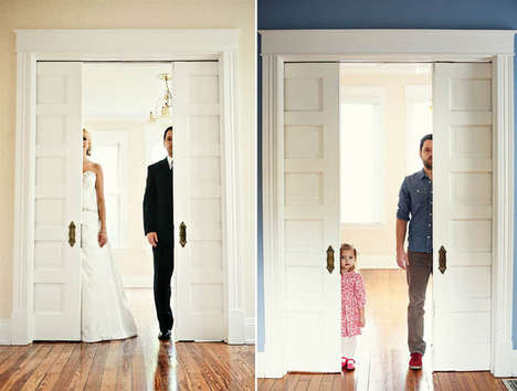 Poignant Father-Daughter Portraits - Ben Nunery and Olivia Reenact Wedding Photos with Late Wife