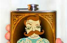 Tattooed Muscle Man Flasks - This Drinking Flask from Wicked Caribou Will Make You a Manly Man