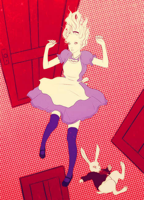 Deceptive Cartoon Otherwordly Drawings - Sai Tamiya's Alice in Wonderland Drawings are Hypnoti