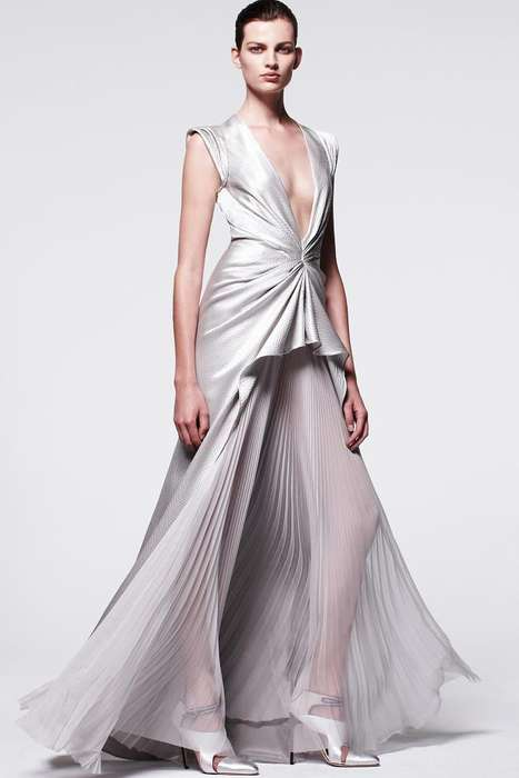 Silver-Centered Fashion Lines - The J. Mendel Pre-Fall 2014 Collection is Easy and Opulent at Once
