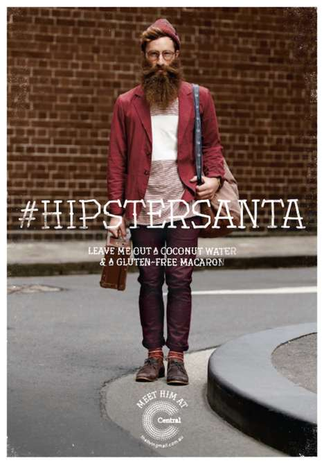 Hipsterized Holiday Icon Ads - This Year the Central Park Sydney Mall Has a Youthful Hipster Santa