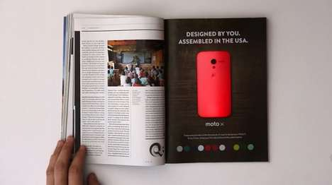 Color-Morphing Magazine Ads - This Printed Color-Changing Ad Stresses Moto X Customization