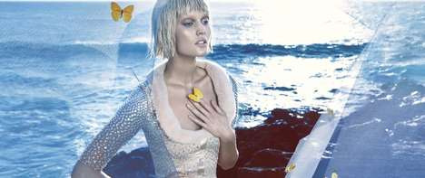 Icy Siren Fashion Ads - The Blumarine SS14 Campaign Stars a Wet-Haired Toni Garrn