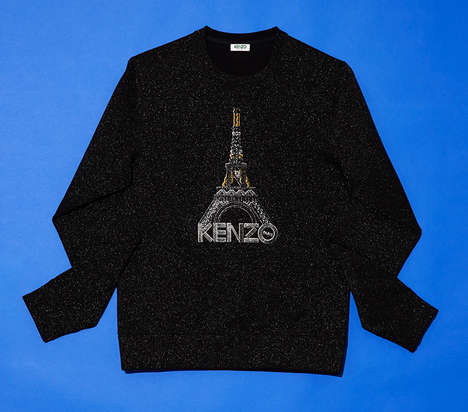 Glittering Parisian Casuals - This Kenzo Eiffel Towel Sweater is Bedazzled and Bold