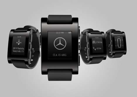 Luxury Auto-Synced Smartwatches - The Mercedes Pebble Smartwatch is Synced with Your Car