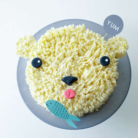 Cutesy Bear Confections - This DIY Polar Bear Cake Involves Baking and Arts and Crafts