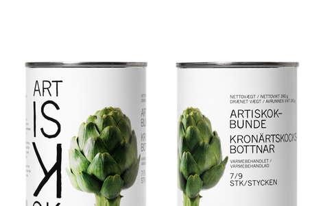Crisp Can Branding - Feldthusen Packaging is a Clean Canvas That Features Healthy Foods