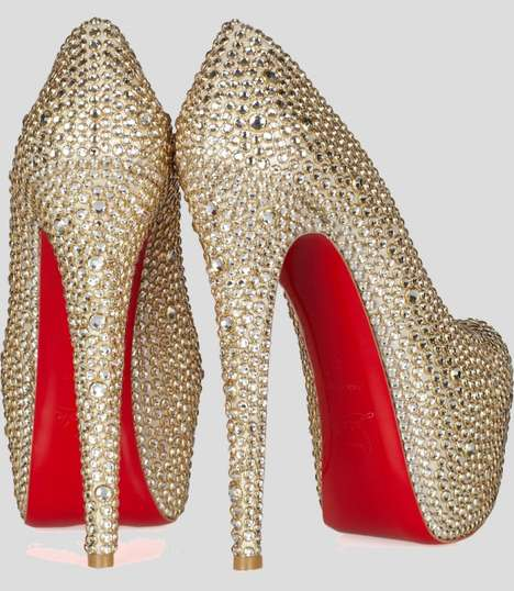 Sky High Crystallized Pumps - The Christian Louboutin Daffodile 160 is Covered in Gems