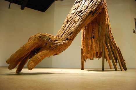 Giant Hand Sculptures - Artist Andy Tirado Works with Reclaimed Pieces of Wood