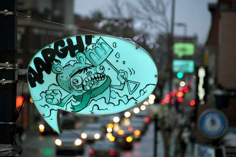 Cartoon Bubble Streetlights - Montreal Gets Turned into a Living Comic Book with These New Lights