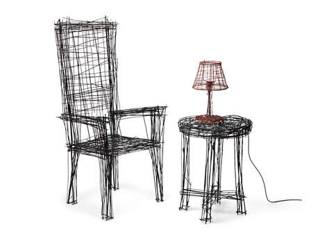 Sketchpad-Inspired Furniture Sets - Jinil Park Brings 2D Furnishings to Life Using Steel Wire