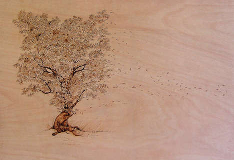 Burnt Wood Illustrations - Artist Eben Cavanagh Rautenbach Creates Intricate Timber Artworks