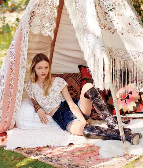 Outdoorsy Artistic Lookbooks - The Free People January 2014 Catalog Stars Sasha Pivovarova