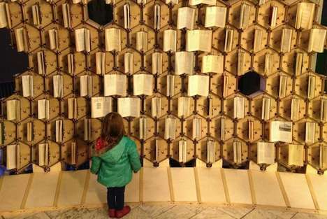 Motion-Sensing Novel Sculptures - The Bristol Central Library Book Hive Installation is Mesmerizing