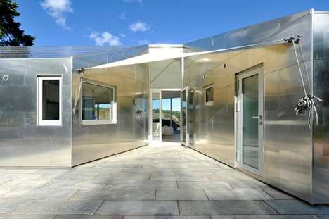 Metal-Clad Cottages - The Aluminum Cabin Mirrors the Mineral Aesthetic of its Rough Site