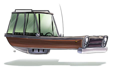 Hovering Vintage Car Illustrations - Ze Future by Ido Yehimovitz Imagines Futuristic Old Vehicles