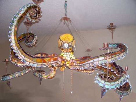 Cephalopod Lighting Fixtures - The Octopus Chandelier Measures 4 Feet Wide and Has 30-inch Tentacles