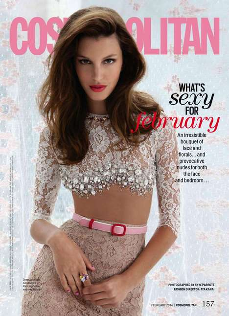 Carefree Floral Party Editorials - The Cosmopolitan February 2014 Issue Boasts Beauty & Free Spirit