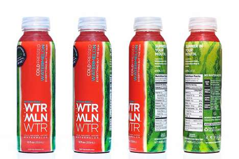 Uniquely Shaped Fruit Branding - WTRMLN WTR Packaging Reshapes a Sweet Natural Treat Around a Bottle