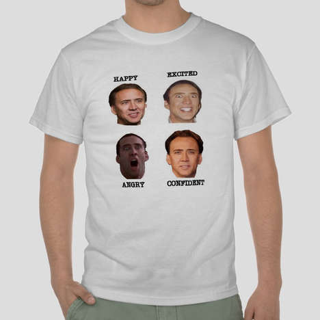 Emotive Actor Tees - The Nicolas Cage Shirt Shows Off the Celebrity's Many Facial Expressions