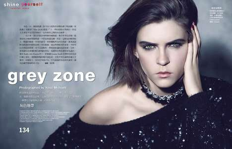 Moody Monochromatic Editorials - The Vogue Taiwan Photoshoot Stars Kel Markey