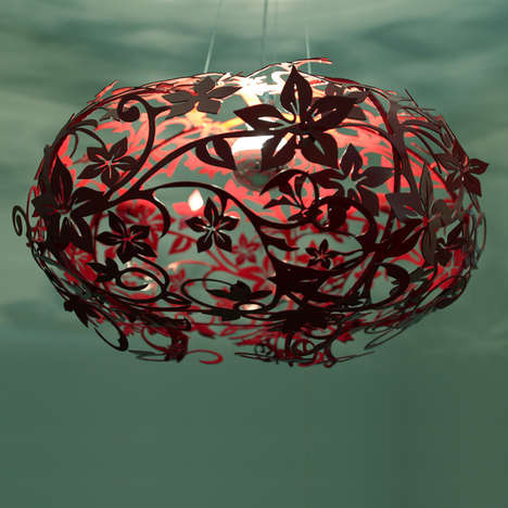 Laser Cut Metal Pendants - Fire Lily by Amichai Oron is Full of Intricate Organic Details