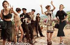 Playful Party Fashion Ads - The Dolce & Gabbana SS14 Campaign is All About Stylish Families