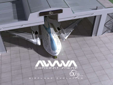 Futuristic Electric Aircraft Concepts - The Awwa Sky Whale Airplane Design Launched at CES 2014