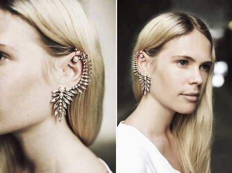 Chandelier-Like Ear Cuffs - The Ryan Storer Swarovski Crystal Ear Cuff Sets the Bar High