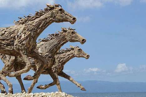 Galloping Horse Sculptures - Artist James Doran-Webb Works with Salvaged Driftwood
