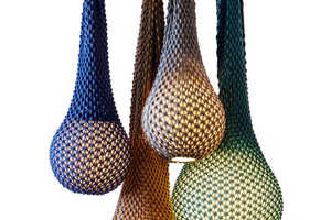 These Knitted Lamps are Designed with Vibrant Wool Threads