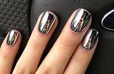Metallic Chrome Manicures - These Stick-On Metallic Nails are Ideal for Fashionistas