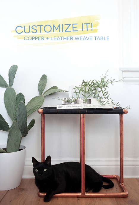 DIY Chic Side Tables - The Copper & Leather Weave Table is Alexander Wang-Esque