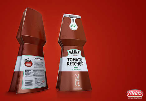 Restructured Condiment Containers - CagninaDesign Heinz Ketchup Packaging Gets a Stiffer Silhouette