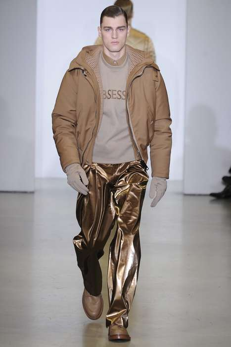 Monochromatic Combatant Fashions - Calvin Klein Fall/Winter 2014 Menswear Plays Up Military Themes