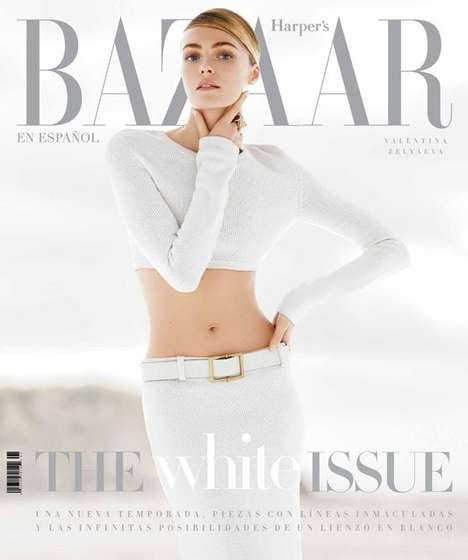 All-White Fashion Editorials - Harper's Bazaar Latin America January 2014 Stars Valentina Zely