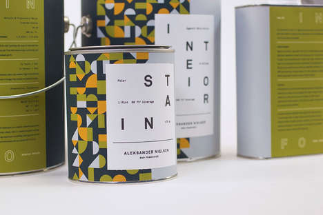 Abstractly Patterned Pigment Cans - Aleksander Nielsen Paint Packaging Exhibits Artistic Variety