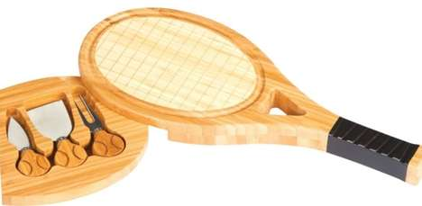 Athletic Cheese Boards - This Sporty Cheese Plate is Shaped Like a Tennis Raquet