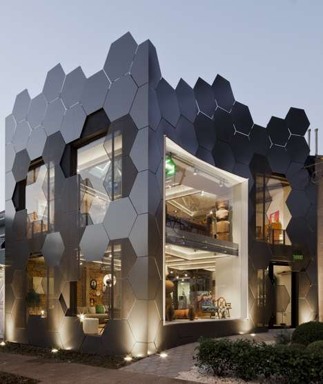 Symmetrical Honeycomb Stores - This New Furniture Store in Brazil Boasts Honeycomb Designs