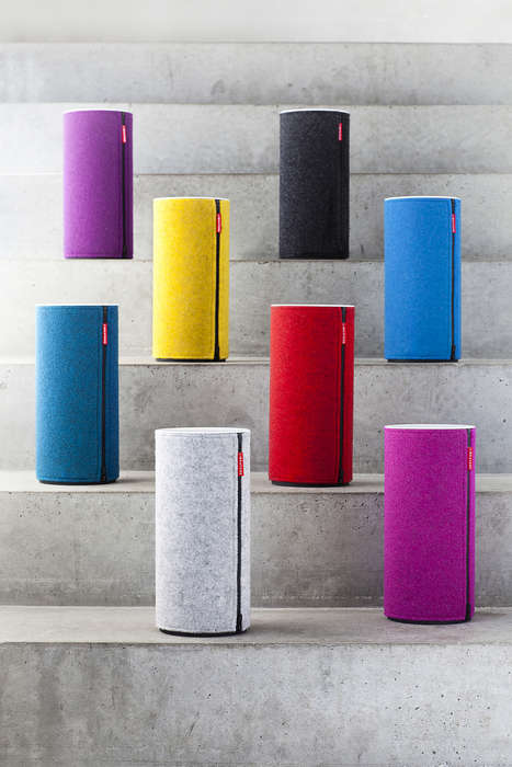 Vibrant Wool Wrapped Speakers - The Cozy Libratone Wireless Speakers Stylishly Match Home Decor